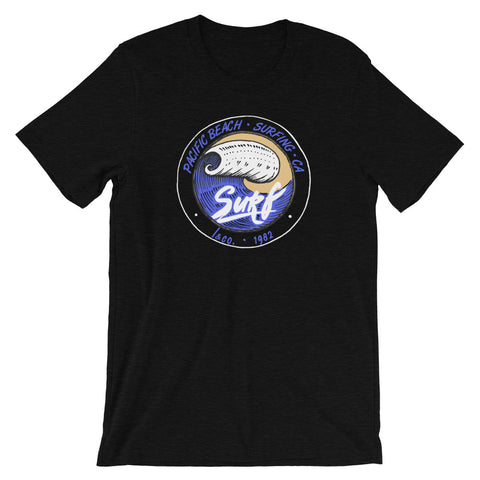 Pacific Beach Surf Heather Black Unisex T-Shirt