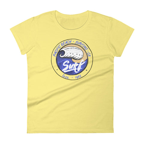 Pacific Beach Surf Yellow Women's T-shirt