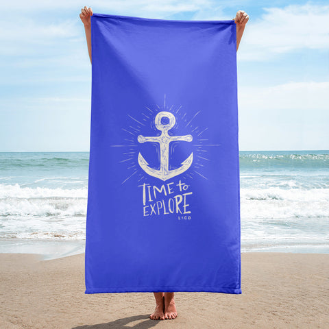 Time To Explore Beach Towel Blue
