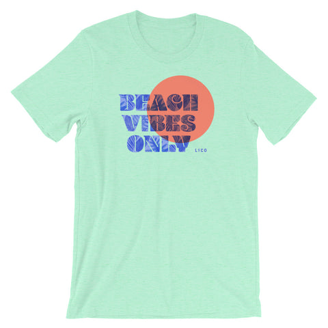 Beach Vibes Only Heather Mint Short-Sleeve Unisex T-Shirt