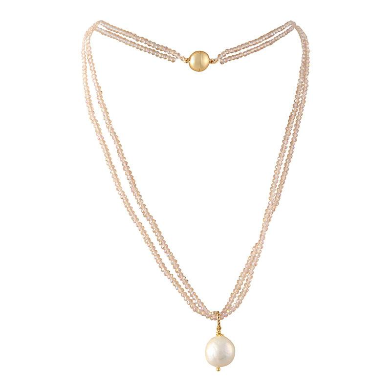 Champagne Crystal Pearl Necklace