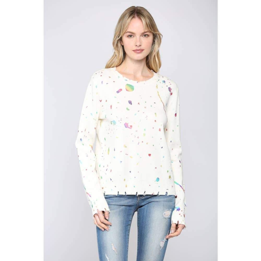 Distressed Paint Splatter Sweater