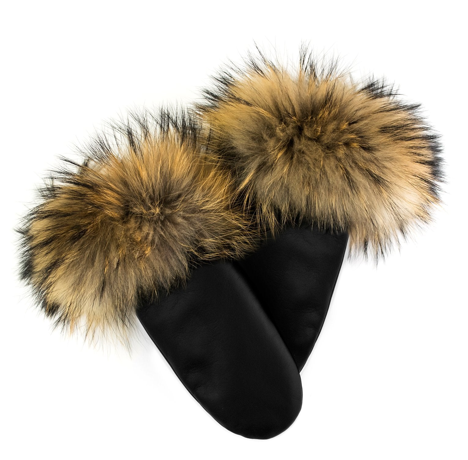 Leather Mittens with Fur