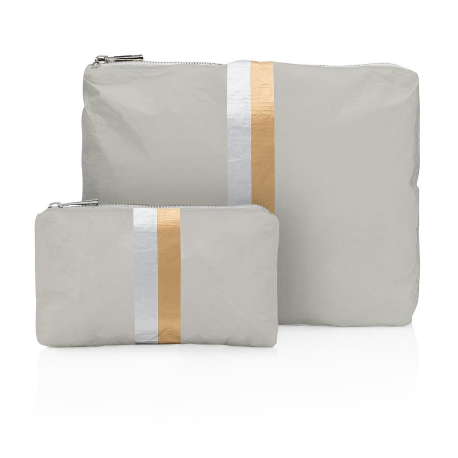 2-Piece Metallic Stripe Bags