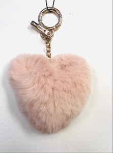 Blush Fur Heart Keychain