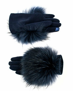 Navy Gloves with Fur