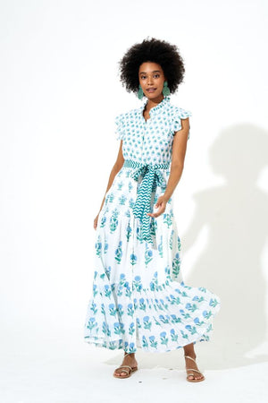 Blue Ruffle Collar Button Maxi
