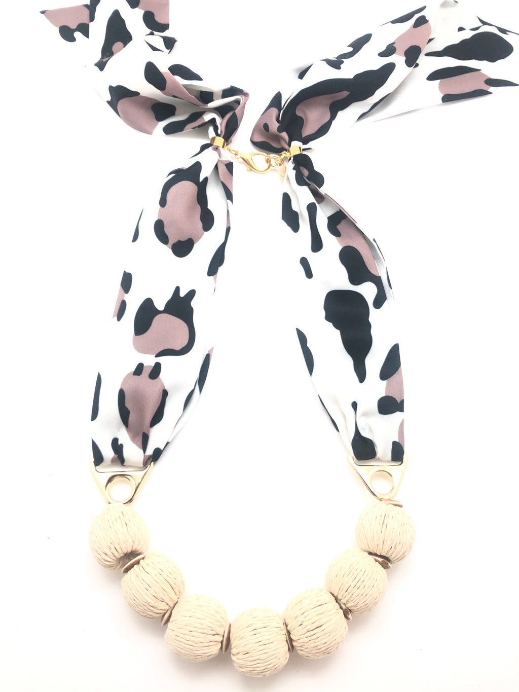 Leopard Rattan Scarf Necklace - Tulips Little Pop Up Shop
