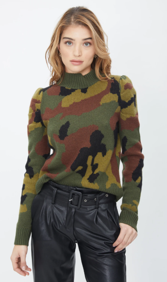 Camo Puff Sleeve Sweater