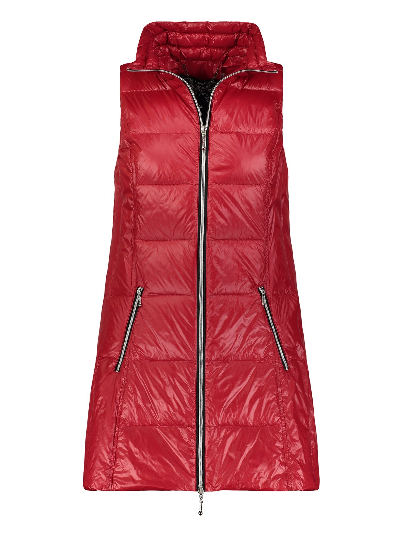 Red Long Puffer Vest