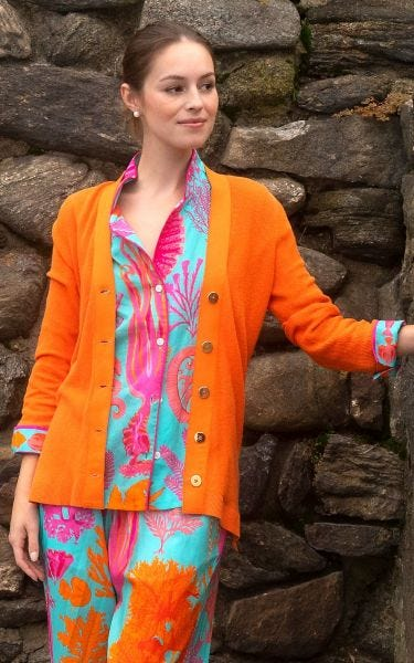 Orange Grosgain Cardigan