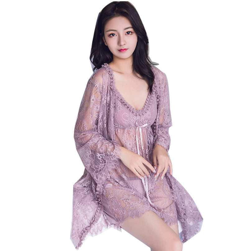 F&R Lace and Mesh Babydoll and Robe