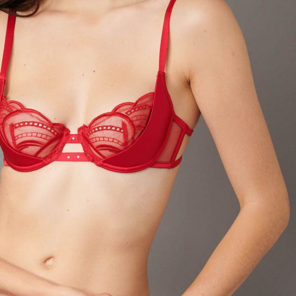 IMPLICITE HALF CUP POPPY RED BRA