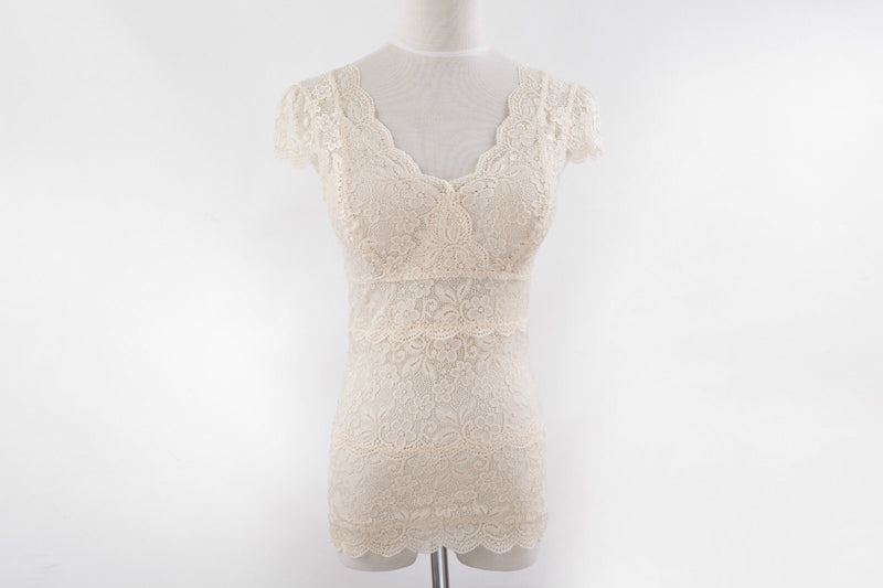 100%Silk short-sleeve Lace Camisole