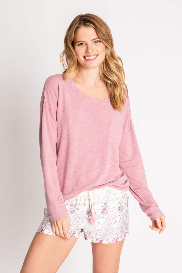 LOUNGE ESSENTIALS MELANGE LONG SLEEVE TOP