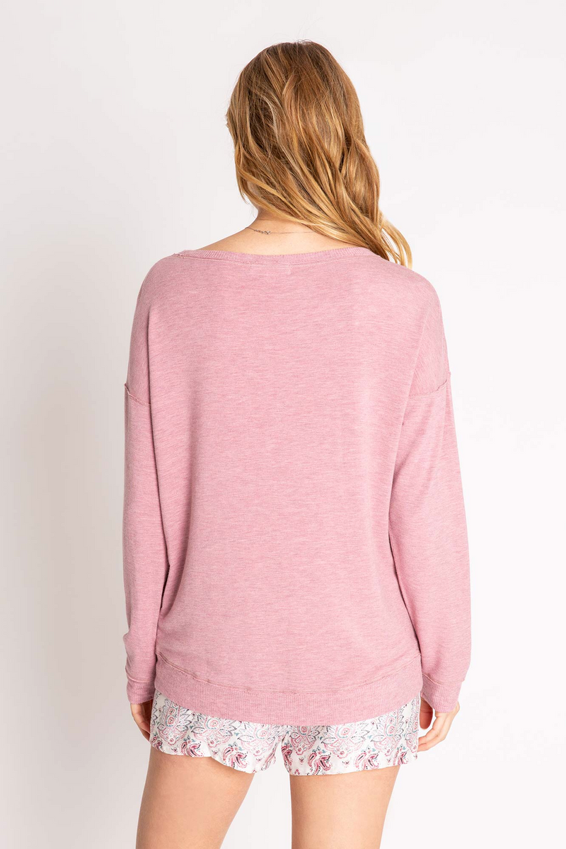 PJ SALVAGE LOUNGE ESSENTIALS MELANGE LONG SLEEVE TOP