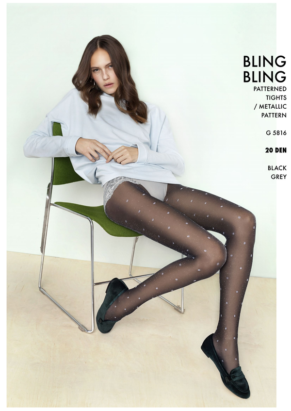 The Girl Bling Bling  20Den Patterned Gloss Tights