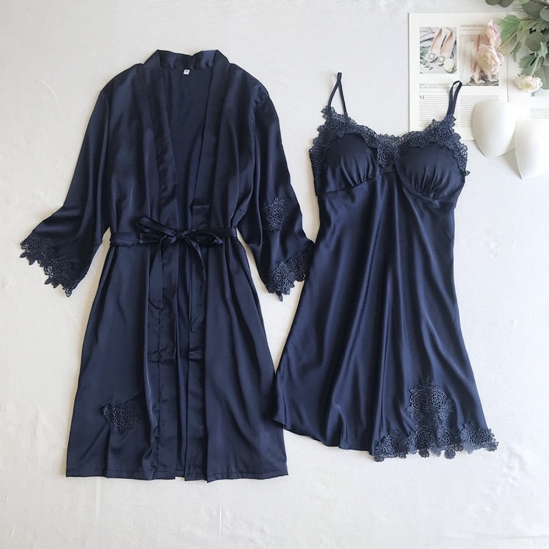 F&R Lace Satin Slip and Robe Set