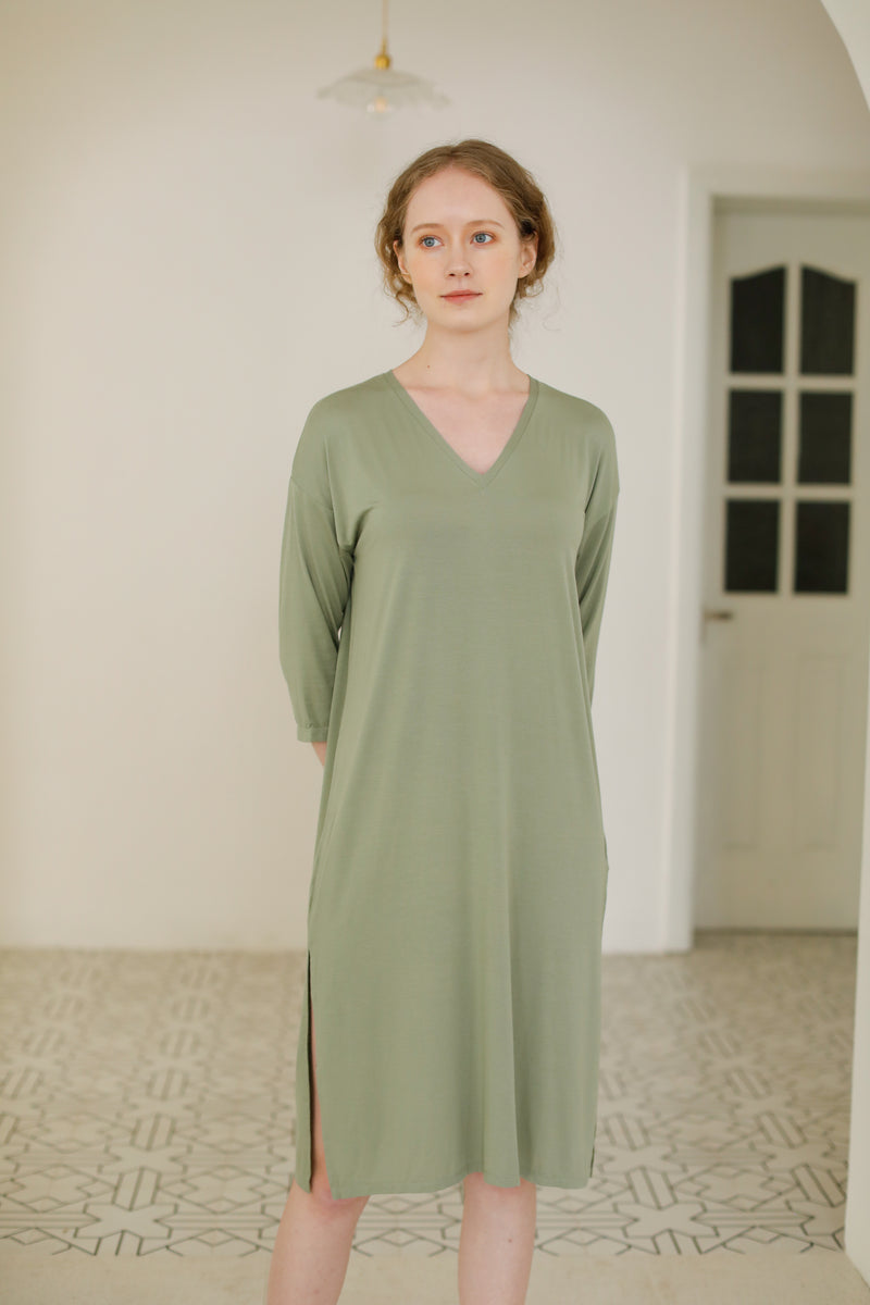 F&R Cotton Avocado Green Nightdress