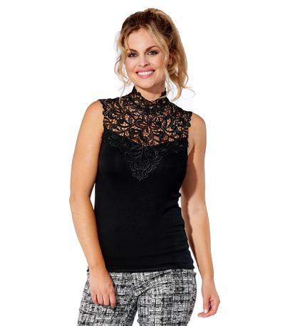 ARIANNE Teri Sleeveless high neck lace trimmed top