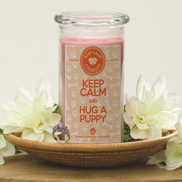 Keep Calm And Hug A Puppy - Keep Calm Candles-Keep Calm Candles-The Official Website of Jewelry Candles - Find Jewelry In Candles!