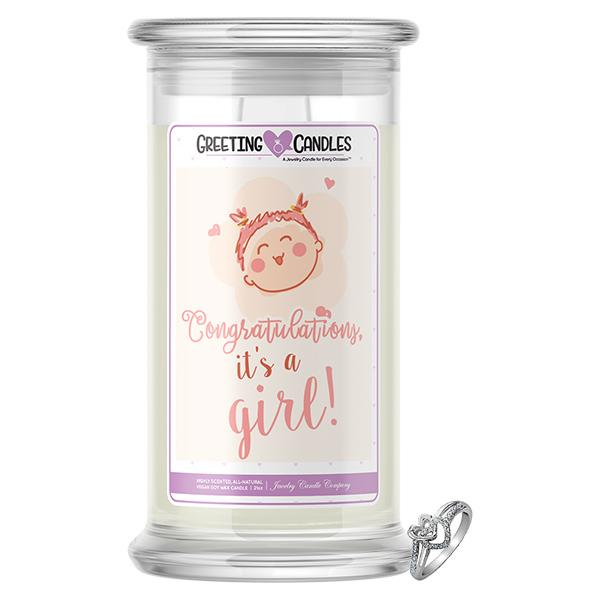 Congrats, It's A Girl ! Jewelry Greeting Candles