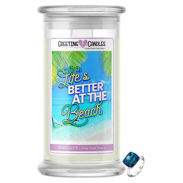 Life's Better At The Beach Jewelry Greeting Candle