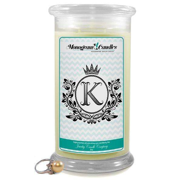 Letter K Monogram Candles-Monogram Candles-The Official Website of Jewelry Candles - Find Jewelry In Candles!