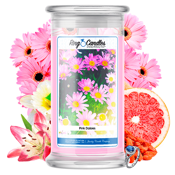 Pink Daisies Ring Candle