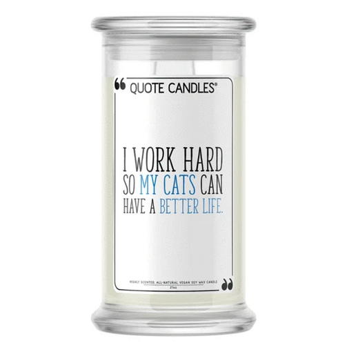 I Work Hard So My Cats Can Have a Better Life - Quote Candle
