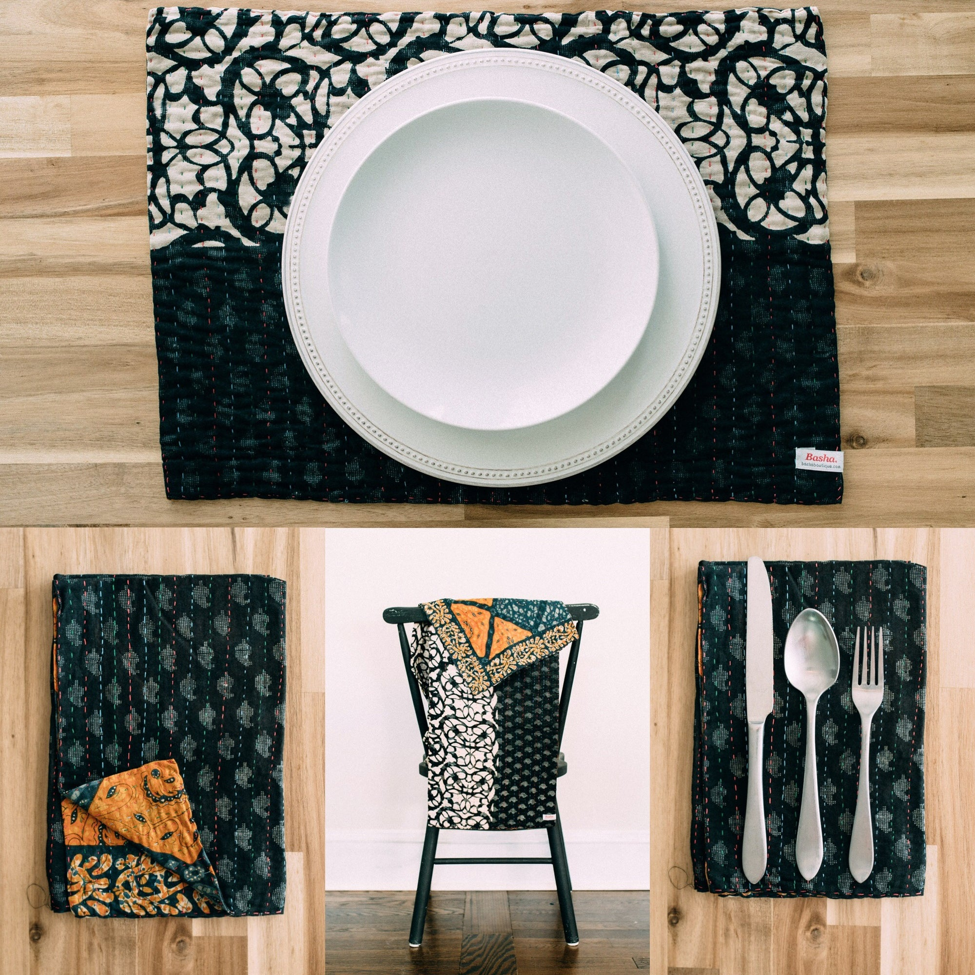 Dining Set - Black/White/Orange