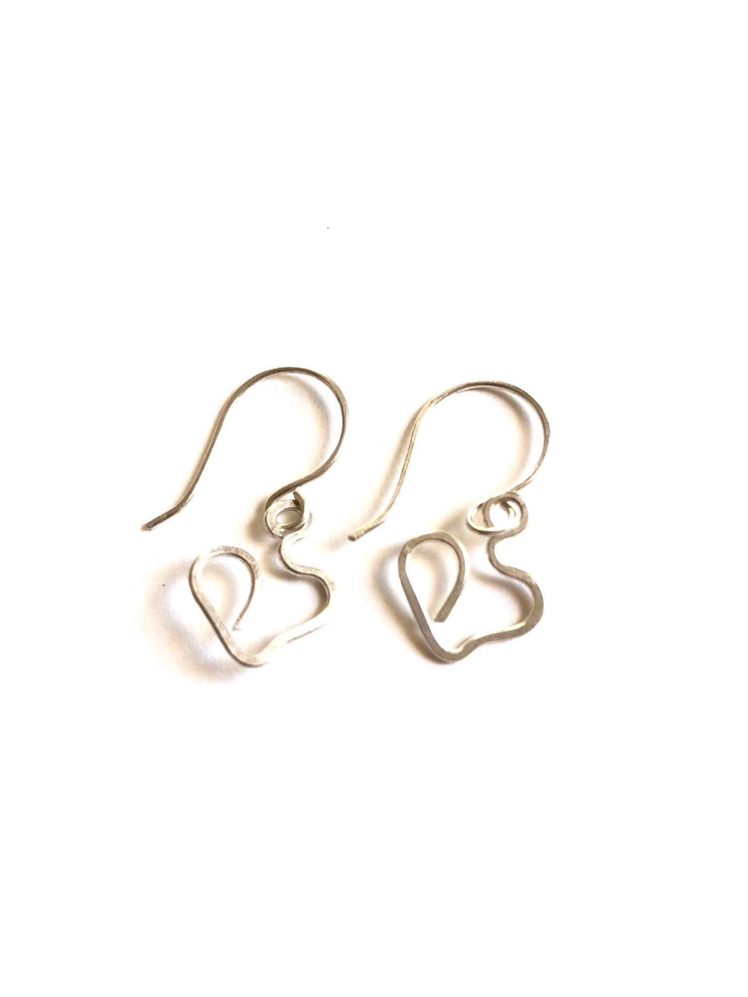 Brass or Silver Heart Earrings