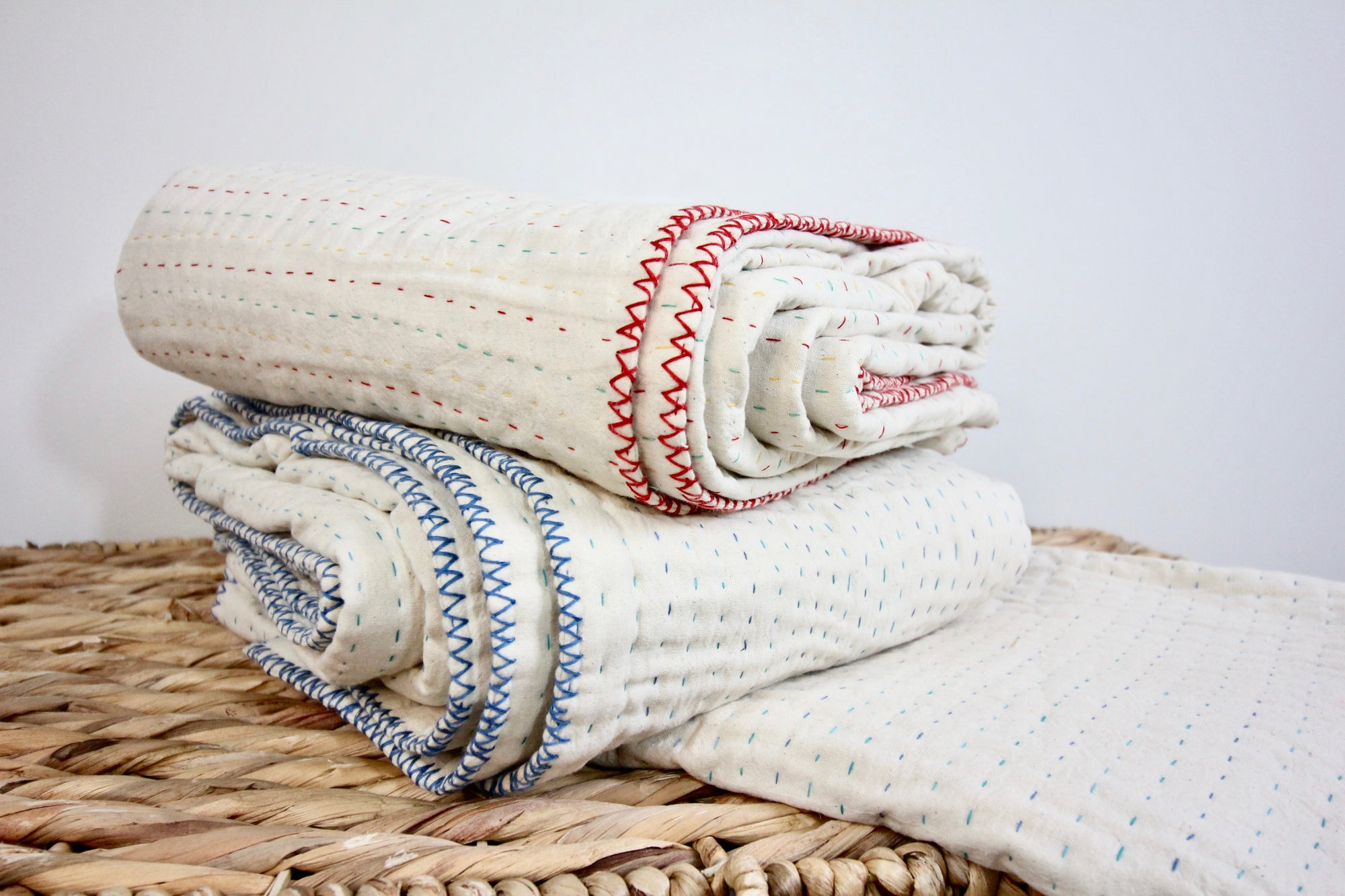 Natural Cotton Kantha Blanket - Twin