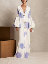 Load image into Gallery viewer, V Collar Long-Sleeved Printing Loose Casual Maxi Shift Dress