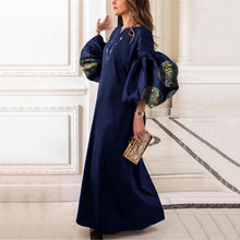 Load image into Gallery viewer, Round Collar Loose Bubble Sleeve Printing Maxi Dress