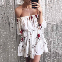 Load image into Gallery viewer, Off Shoulder  Belt  Floral Printed  Long Sleeve Skater Dresses