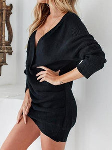 Deep V Neck Sexy Long Sleeve Knitting Casual Dress