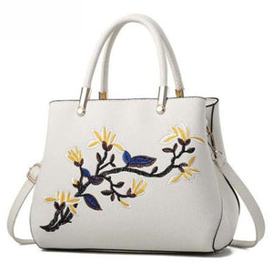 Floral Embroidery Pu Shoulder Bag