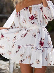 Off Shoulder  Belt  Floral Printed  Long Sleeve Skater Dresses