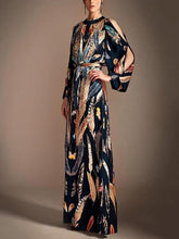 Load image into Gallery viewer, Fashion Floral Printed Split Sleeve With Belt Maxi Dress