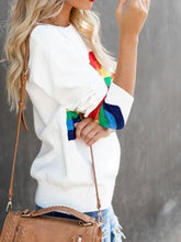 Load image into Gallery viewer, Fashion Six-Color Rainbow Striped Jacquard Sweater