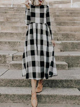 Load image into Gallery viewer, Round Neck Long Sleeve Plaids Printed Maxi Dress