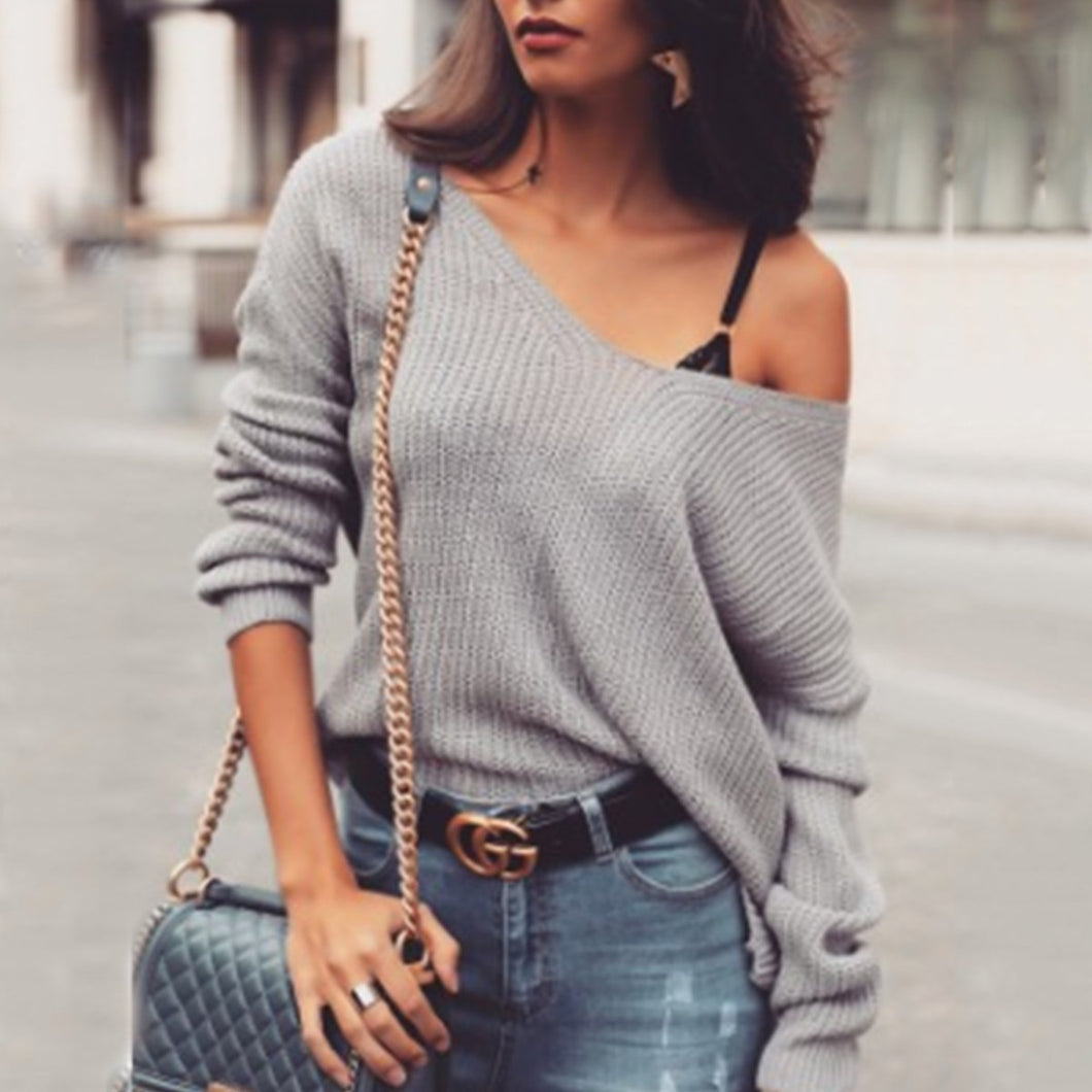 Sexy Off Shoulder Plain Loose Sweater