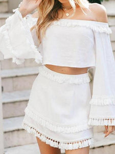Sexy Off Shoulder Flare Long Sleeve Crop Top Fringe Skirt Suit