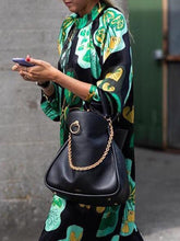 Load image into Gallery viewer, Stylish Green Floral Print Long Sleeve Maxi Dresses