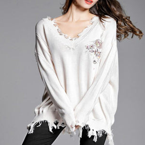 Sweet Fashion Loose Solid Color Irregular Side Long Sleeve Sweater