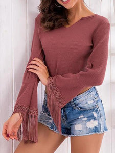 V Neck Asymmetric Hem Bell Sleeve Plain Sweaters