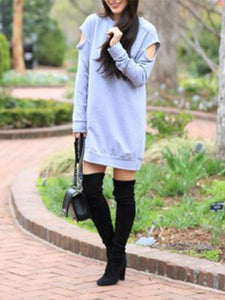 Autumn And Winter Loose Long-Sleeved Hoodied Dress