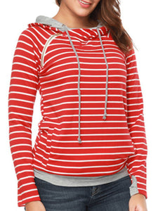 Casual Striped Long Sleeve Hoodie