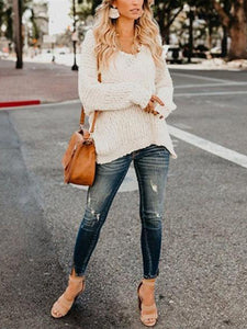 Pure Color Double V Open Shoulder Sweater